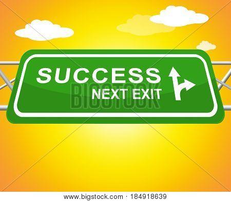Success Sign Representing Triumphant Victory 3D Illustration