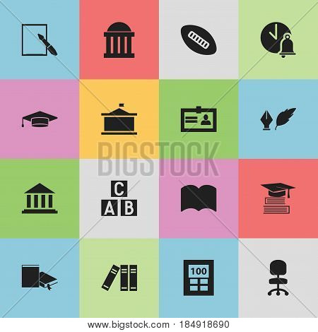 Set Of 16 Editable Graduation Icons. Includes Symbols Such As Oval Ball, Notepaper, Certification And More. Can Be Used For Web, Mobile, UI And Infographic Design.