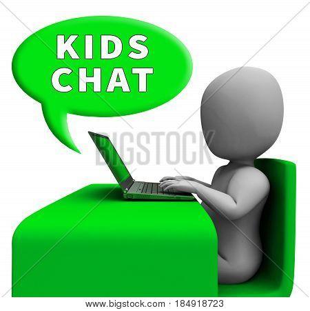 Kids Chat Showing Child Messenger 3D Rendering