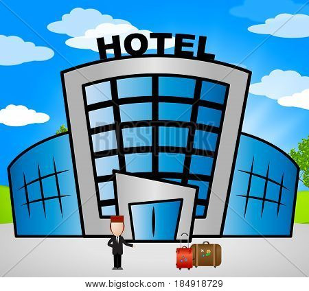 Hotel Lodging Shows Holiday Accomodation 3D Illustration