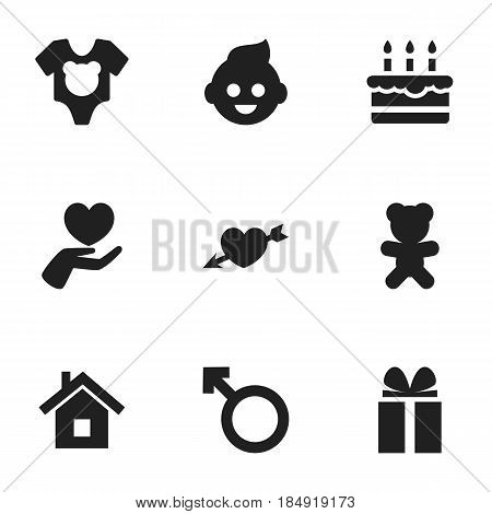 Set Of 9 Editable Kin Icons. Includes Symbols Such As Man Emblem, Home, Patisserie And More. Can Be Used For Web, Mobile, UI And Infographic Design.
