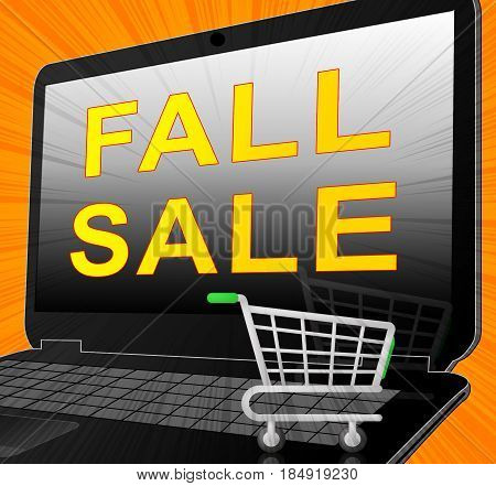 Fall Sale Representing Autumn Commerce Sales 3D Rendering