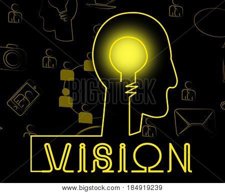 Vision Brain Shows Corporate Planning And Objectives