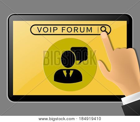 Voip Forum Tablet Representing Internet Voice 3D Illustration