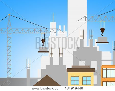 Apartment Construction Representing Building Condos 3D Illustration