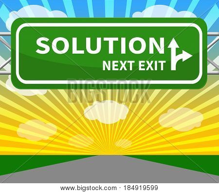 Solution Sign Representing Solving Successful 3D Illustration