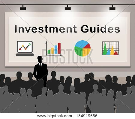 Investment Guides Indicates Investing  Advice 3D Illustration