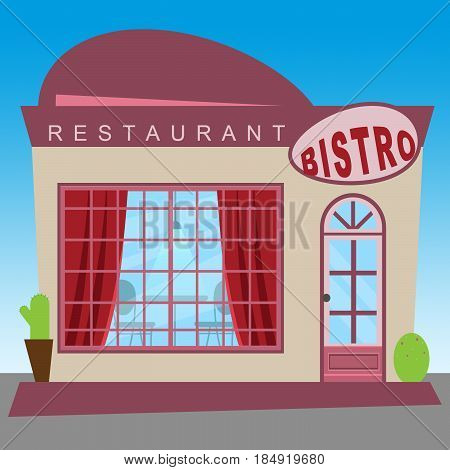 Restaurant Bistro Showing Gourment Food 3D Illustration