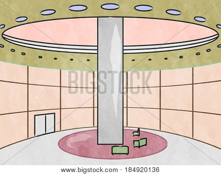 Hotel Interior Showing City Accomodation 3D Illustration