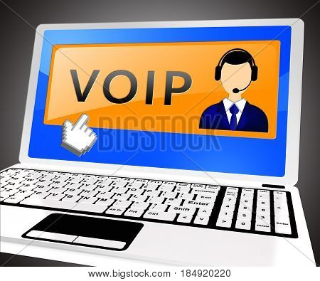 Voip Laptop Shows Internet Voice 3D Illustration