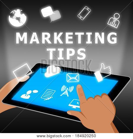 Marketing Tips Shows Emarketing Advice 3D Illustration