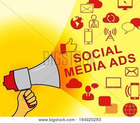 Social Media Ads Representing Online Marketing 3D Illustration