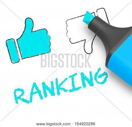 Ranking Thumbs Up Means Performance Report 3D Illustration
