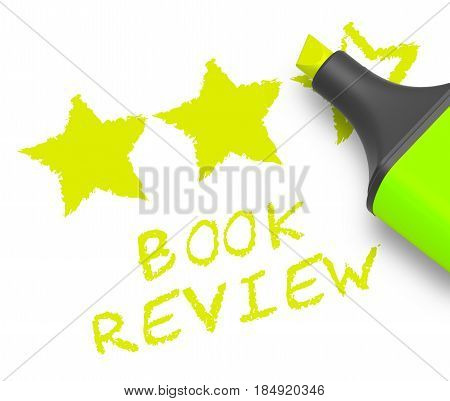 Book Review Represents Reviewing Fiction 3D Illustration