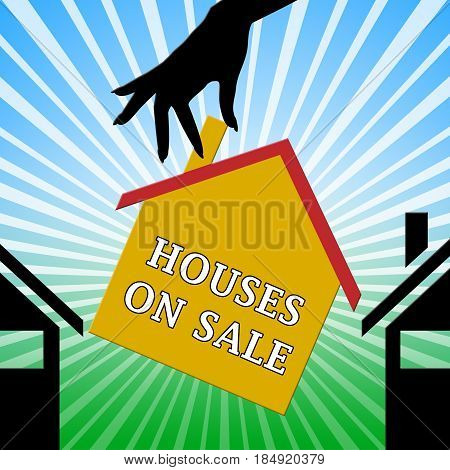 Houses On Sale Meaning Sell House 3D Illustration