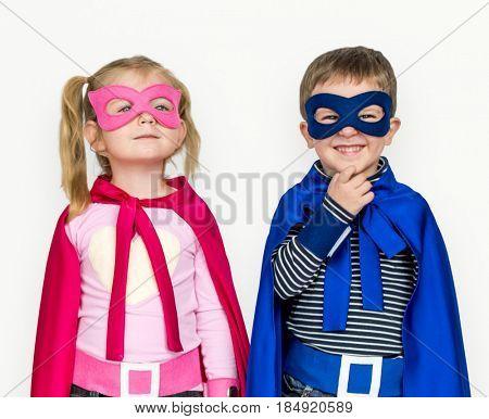 Little Kids Dressing Superhero Hand Gesture Happy