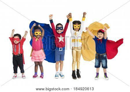 Diversity of Superhero Kids Playful Cheerful Happiness Studio Isolated
