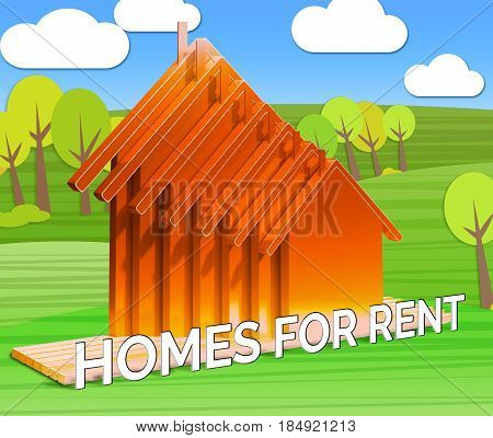 Homes For Rent Shows Real Estate 3D Illustration