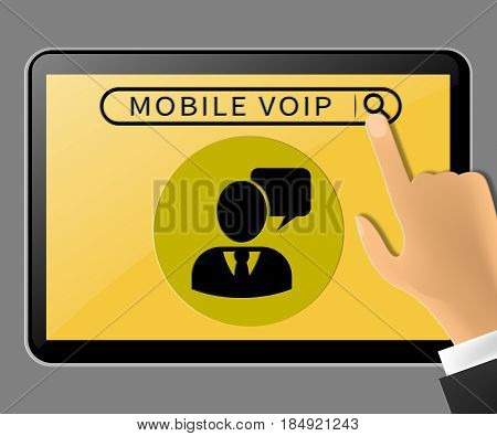 Mobile Voip Tablet Showing Broadband Telephony 3D Illustration