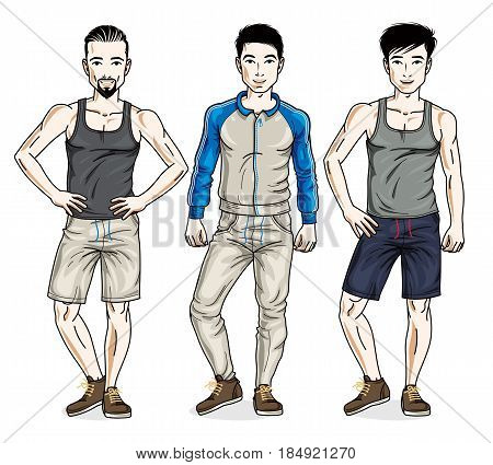 Confident handsome men standing wearing stylish sport clothes. Vector diverse people illustrations set.