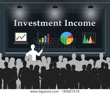 Investment Income Means Investing Roi 3D Illustration