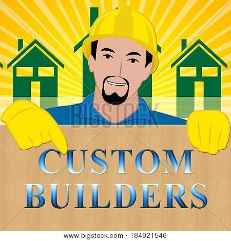 Custom Builders Showing Customized Building 3D Illustration