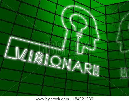Visionary Brain Represents Insights Strategist 3D Illustration