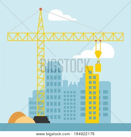 Apartment Construction Shows Building Condos 3D Illustration