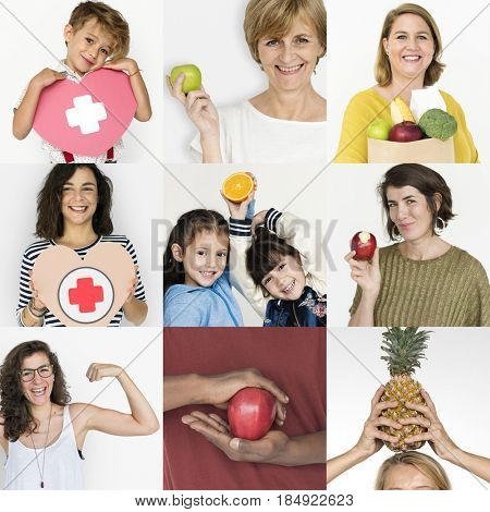 Collages diverse people health vitality