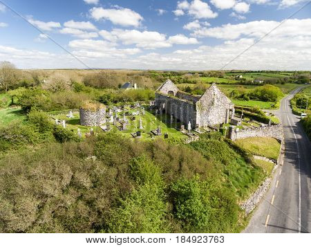 Aerial View Of A Beautiful Old Ruins Of An Irish Church And Burial Graveyard In County Clare, Irelan