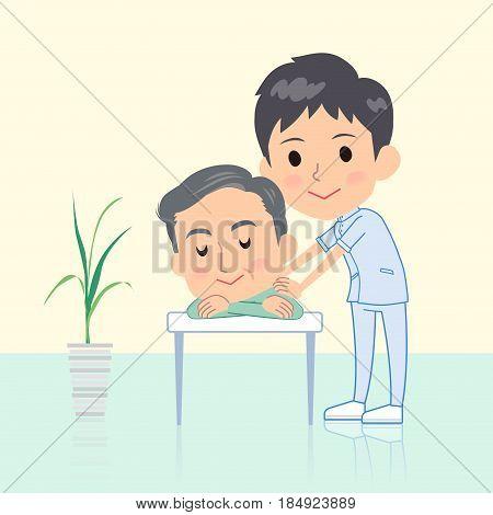 chiropractor man massage pose Cute illustration design