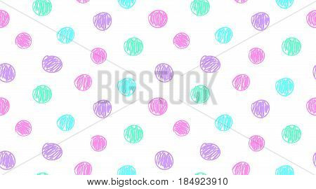 hand drawn circles, vector simple seamless pattern