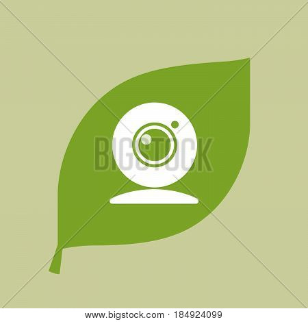Vector Green Leaf Icon With A Web Cam