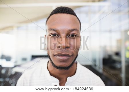 Close up portrait of businessman with stubble standing on office