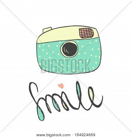 Cute retro photo camera with lettering