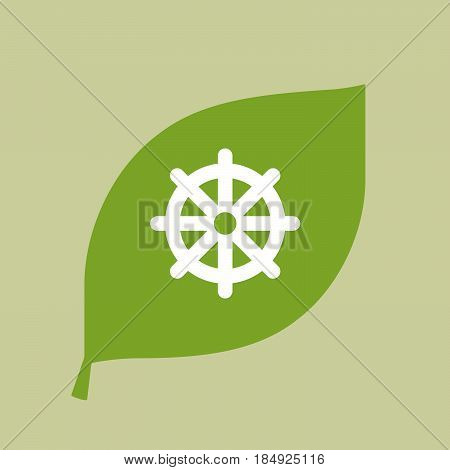Vector Green Leaf Icon With A Dharma Chakra Sign
