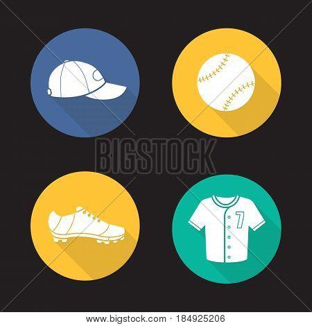 Baseball flat design long shadow icons set. Softball equipment. Ball, cap, shoe and t-shirt. Vector silhouette illustration
