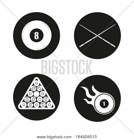 Billiard icons set. Pool equipment. Cuesports accessories. Eight ball, cues, ball rack and burning ball. Vector white silhouettes illustrations in black circles