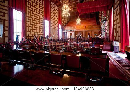 Stockholm, Sweden - July, 2012: Interior of Stockholm City Hall. City Hall is the building of the Municipal Council