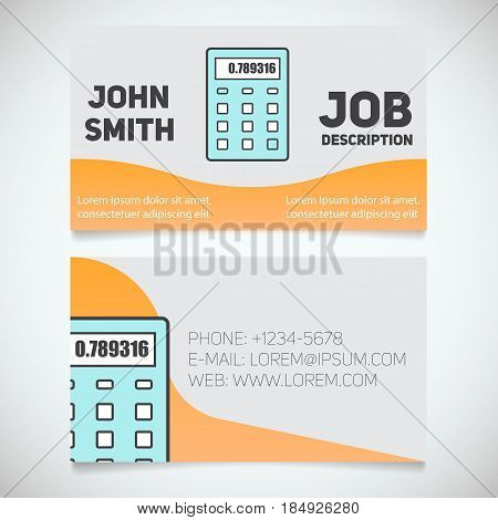 Business card print template with calculator logo. Manager. Accountant. Financier. Cashier. Booker. Stationery design concept. Vector illustration