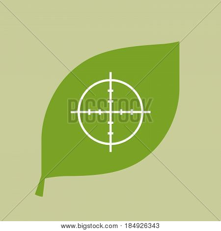 Vector Green Leaf Icon With A Crosshair