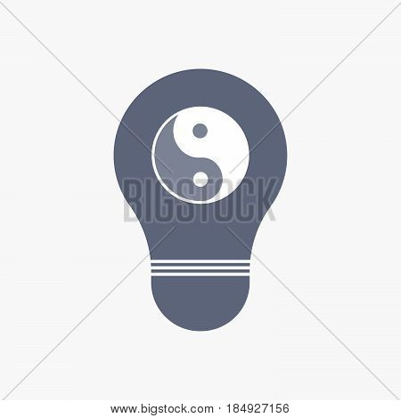 Isolated Light Bulb Icon With A Ying Yang