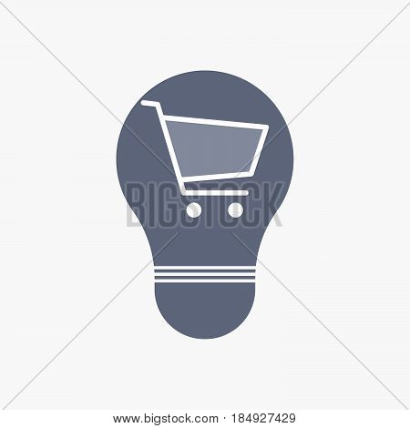 Isolated Light Bulb Icon With A Shopping Cart