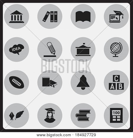 Set Of 16 Editable Education Icons. Includes Symbols Such As Dictionary, Bell, Museum And More. Can Be Used For Web, Mobile, UI And Infographic Design.
