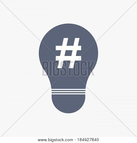 Isolated Light Bulb Icon With A Hash Tag