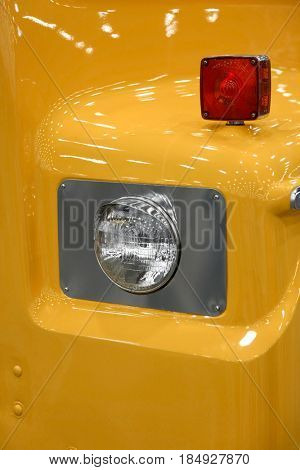 Close up shot of old truck head lamp