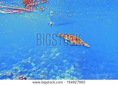 Sea turtle in shallow water. Tropical seashore vibrant digital illustration. Tortoise in wild nature. Exotic island seashore animal. Snorkeling underwater scene. Marine reptile green turtle swimming