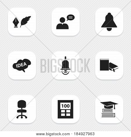 Set Of 9 Editable University Icons. Includes Symbols Such As Education, Work Seat, Calculator And More. Can Be Used For Web, Mobile, UI And Infographic Design.
