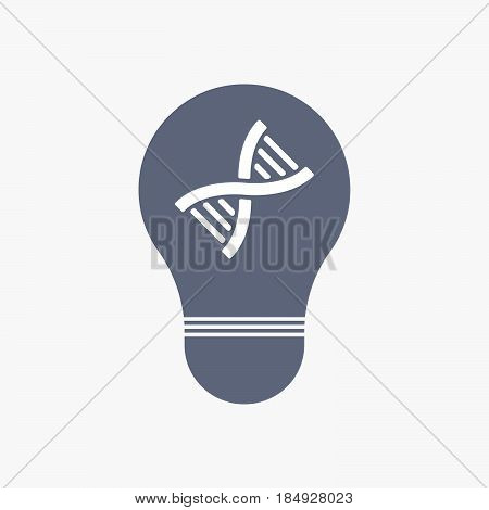 Isolated Light Bulb Icon With A Dna Sign