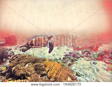 Seawater with green turtle. Marine animal fantastic digital illustration. Coral reef bottom and sea turtle. Oceanic animal species in wild nature. Snorkeling with tortoise underwater banner template.
